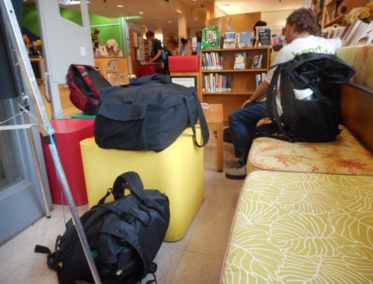 Homeless library patrons and their possessions make an already cramped seating area seem even smaller; creating storage during library visits would help the homeless and preserve room for other patrons
