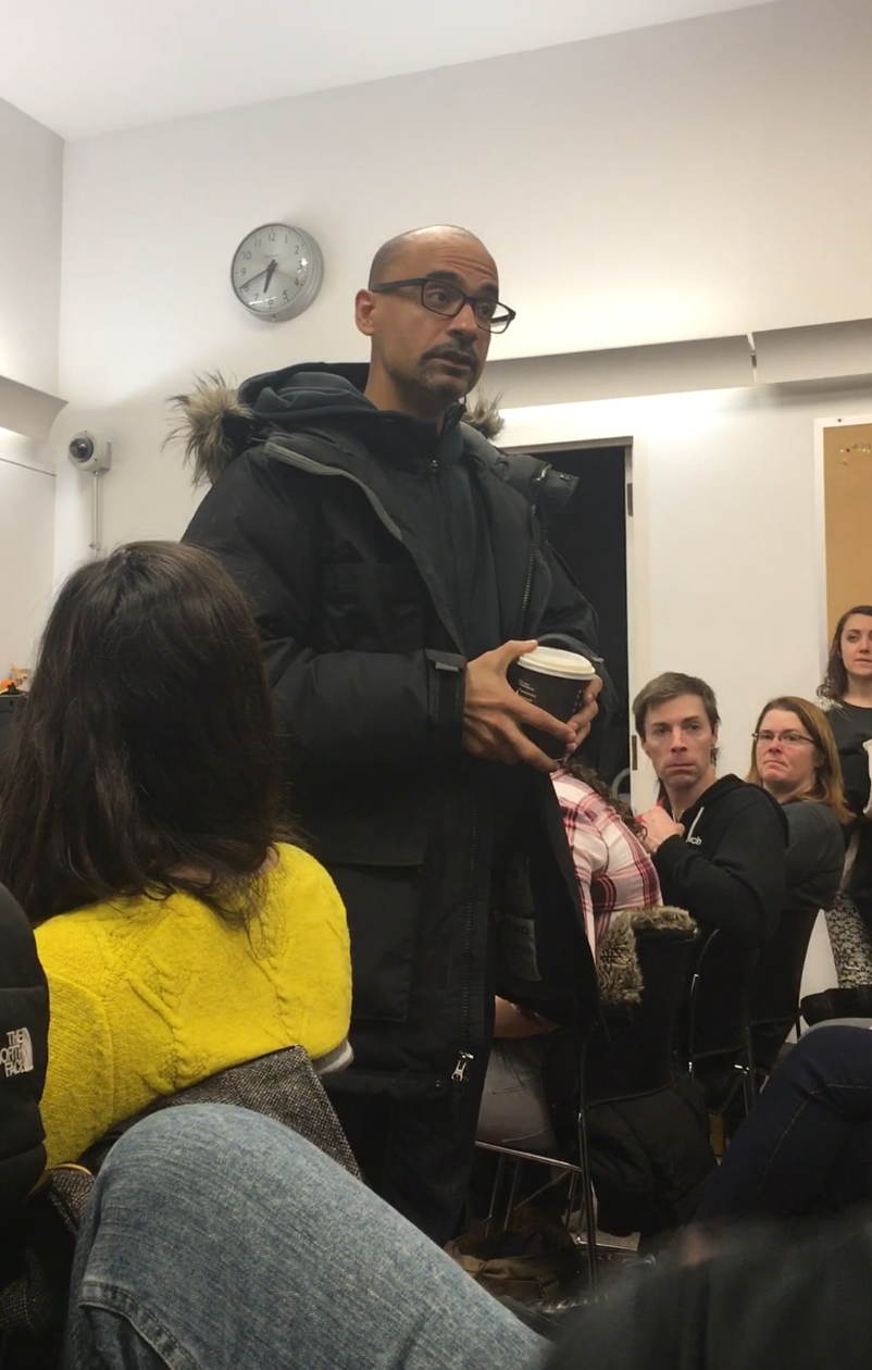 Author Junot Diaz talking about the importance of libraries at the beginning of his talk on January 10/17