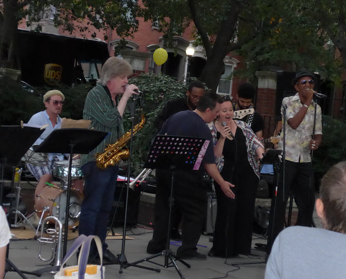 At the August 15 concert, with drummer Benny Benson and bass player Christoff Glaude in the background, saxophonist Pat Loomis, trumpeter Scott Aruda,Sarah Seminski and Nephtaliem McCrary sang their hearts out with Louis Prima's  Just a Gigolo and I Ain't Got Nobody