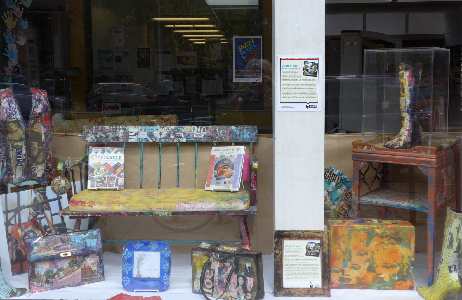 Samples of decoupage by South End  artist and teacher Jean Sherr are in view in the Tremont Street window through the middle of September 2017