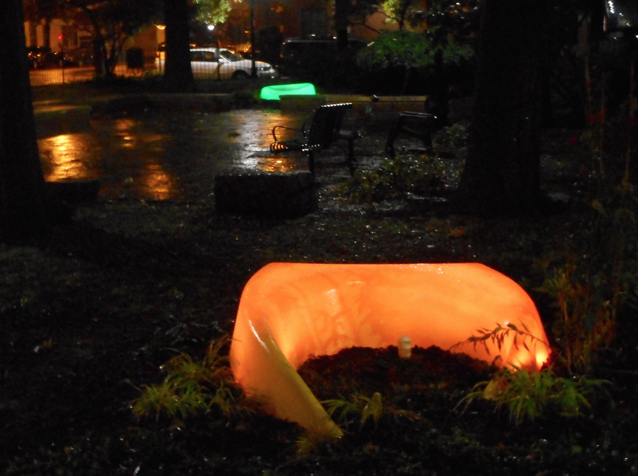 The LightWells in Library Park, casting a soft glow in dark corners at night