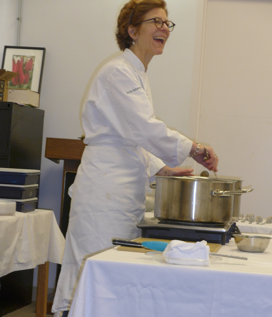 Award-winning chef Jody Adams cooking Campanelle at the South End library
