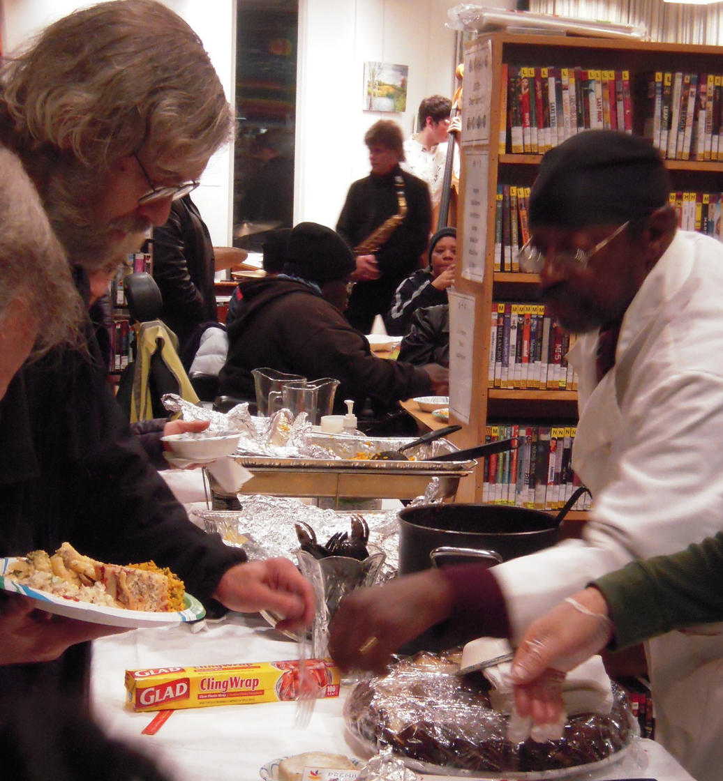 The South End library's Holiday Party: Home-cooked dinner and Jazz&Blues music by Pat Loomis and his Friends.