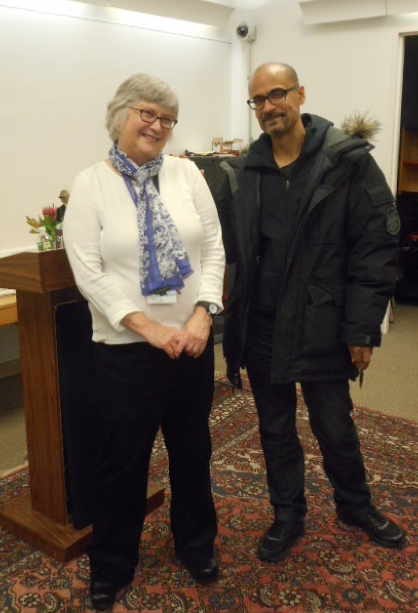 Head librarian, Anne Smart, with celebrated  South End Writes author, Junot Diaz, January 2017