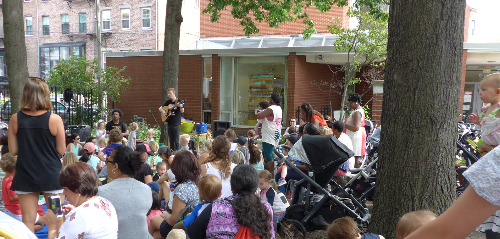 Library Park is a popular 'outside living room' for children's events, sponsored by the Friends of the South End Library and the South End branch