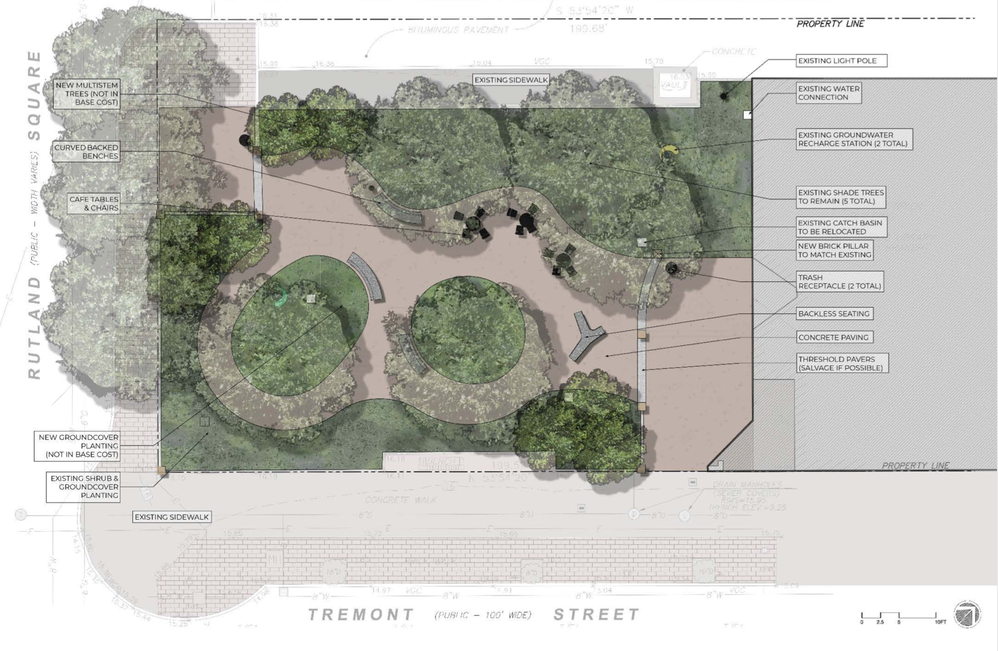 The re-design of Library Park proposed in January but not accepted by South End Landmark commissioners concerned about root system protection, foot traffic flow and the quality of the concrete hardscape.