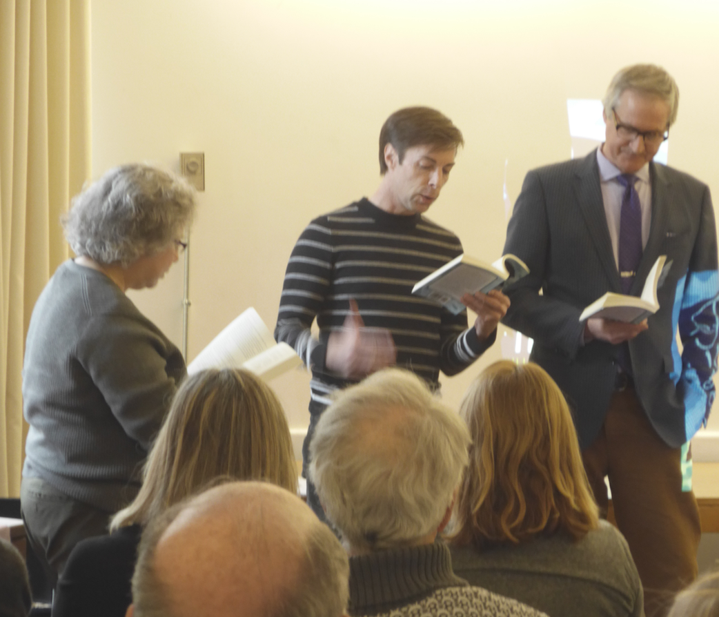 In addition to presenting a slide show, author Kuhn had three friends read part of the dialogue from a chapter in  Prince Harry Boy to Man. They included FOSEL board member,Michael Cox, Kuhn's brother, Fritz, and author Linda Markarian.