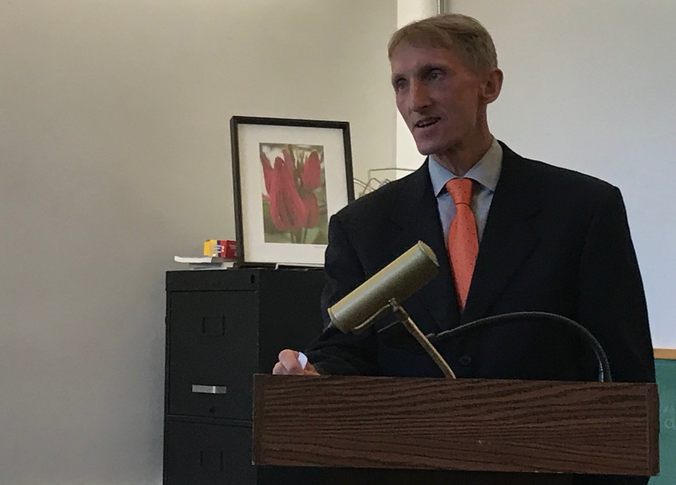 Boston police Commissioner, Bill Evans, who introduced David Hemenway, had to leave early: Someone had been shot....