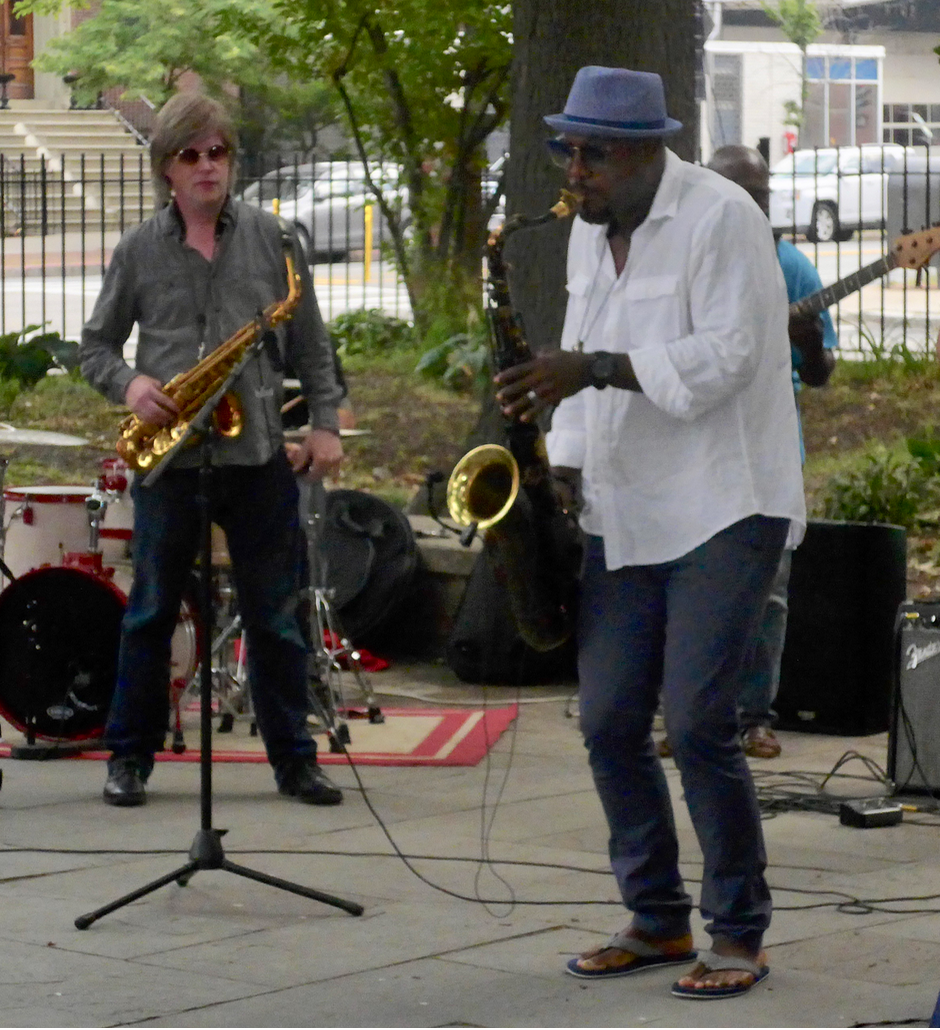 Alto-saxophonist Pat Loomis, on the left, with Elan Trotman, on tenor-saxophone