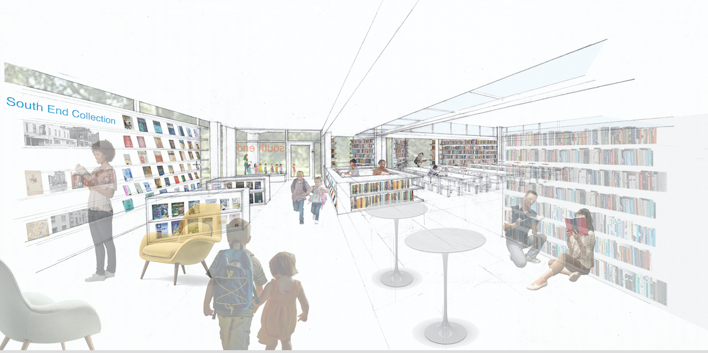 The proposed layout of the South End library's downstairs interior representing Phases One and Two by architect and FOSEL board member Michelle Laboy