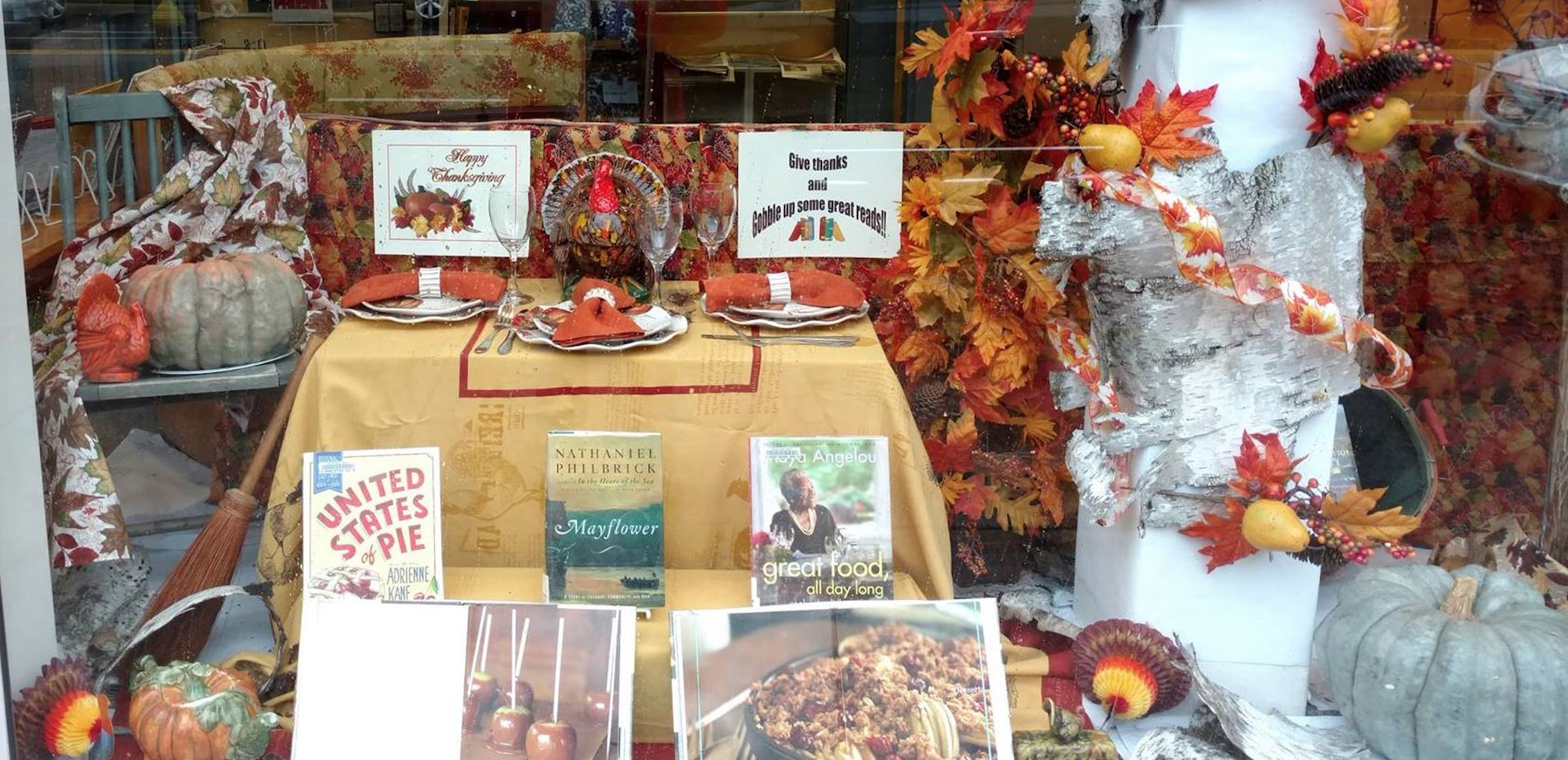 A Thanksgiving window display by FOSEL's board members