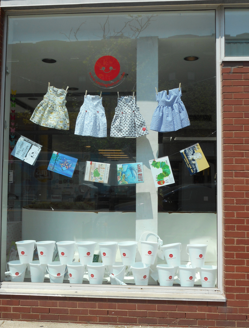One of the first was displays by Caroline Leed, the owner of South End's Smiling Button