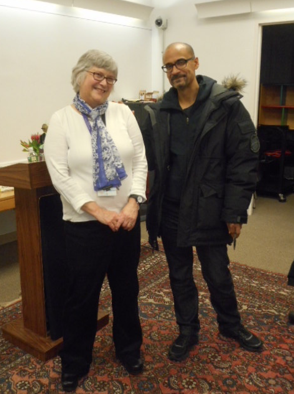 South End library's head librarian, Anne Smart, with author Junot Diaz, who described himself as a great admirer of librarians