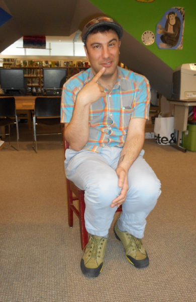 SE library staffer Matt Krug, striking an experimental pose