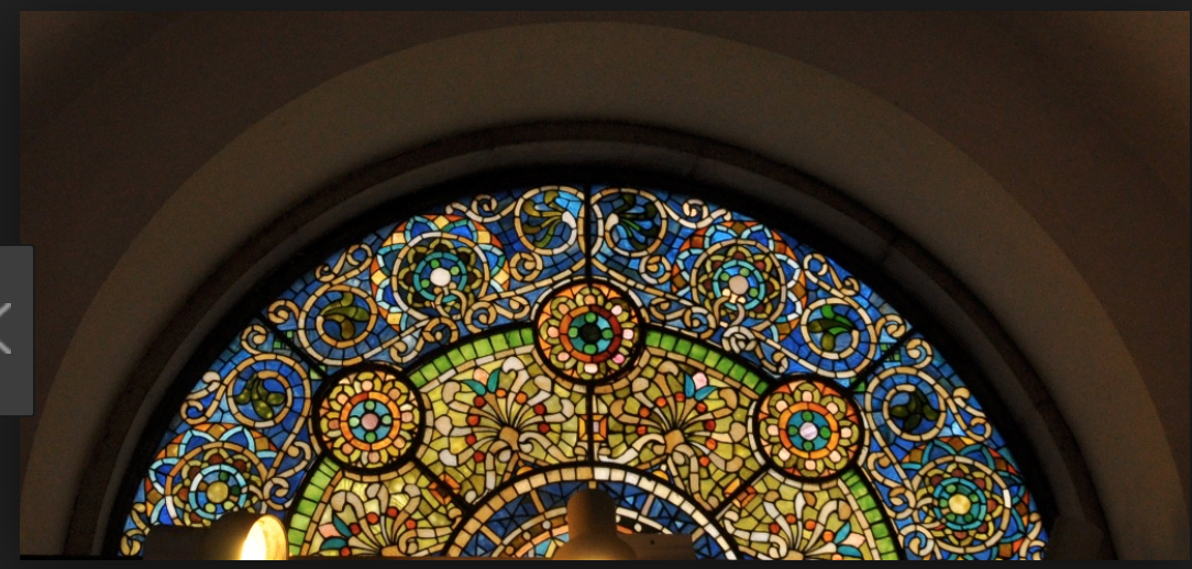 One of the Tiffany-designed windows at the Ayer mansion