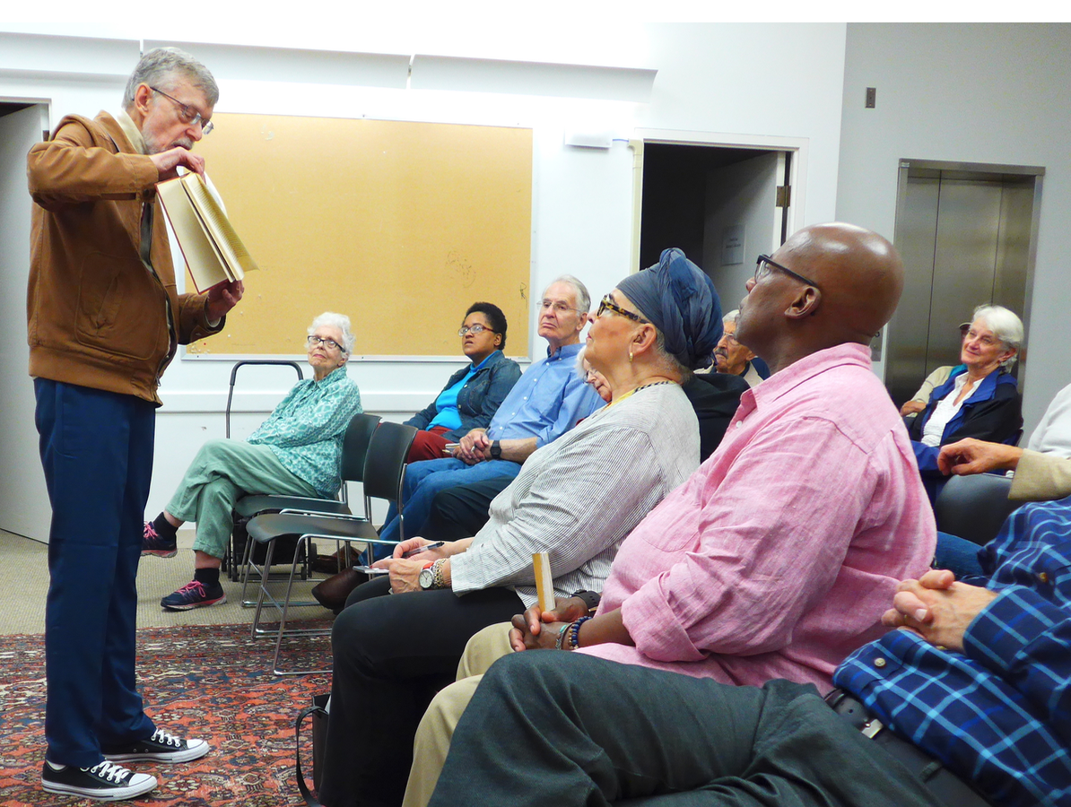 Randolph Fuller talking to an engaged audience last year about Boston's distinguished history with opera companies and the sad demise of the Opera House, formerly on Huntington Avenue.