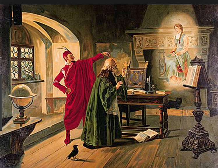 An illustration of the final scene of Charles Gounod's  Faust , with the Devil, Faust and Gretchen (or Marguerite).