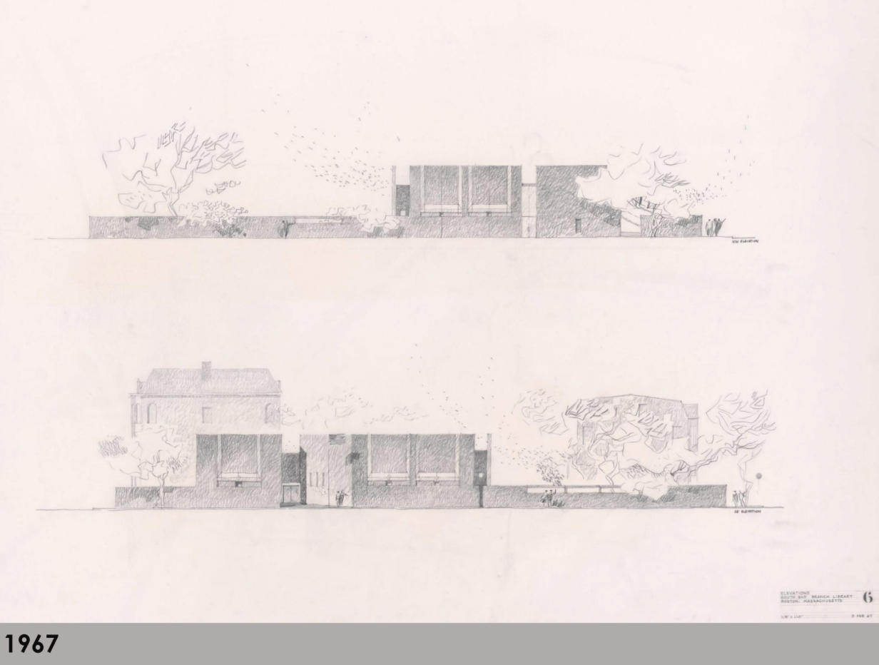 Early designs for the branch showed the building on different sides of the lot on Tremont Street