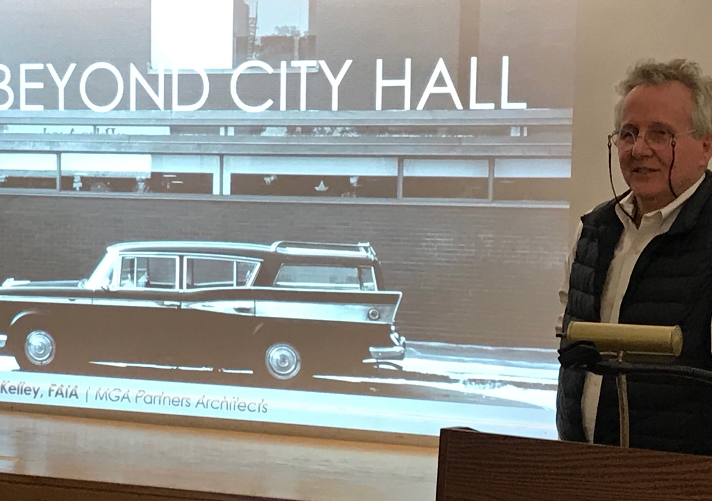 Dan Kelley, principal in MGA Partners, the Philadelphia architectural firm that succeeded the award-winning Mitchell/Giurgola firm when they moved to Australia. Kelley gave a presentation at the South End library on March 12 about the architectural history of the South End branch.