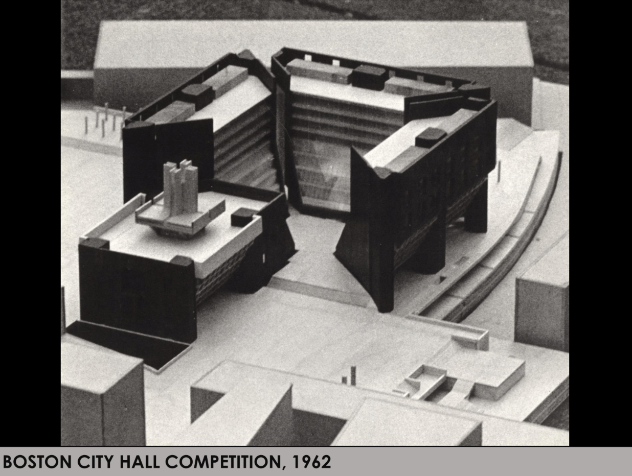 The 1962 Mitchell/Giurgola proposal for a new Boston City Hall. It came in second.