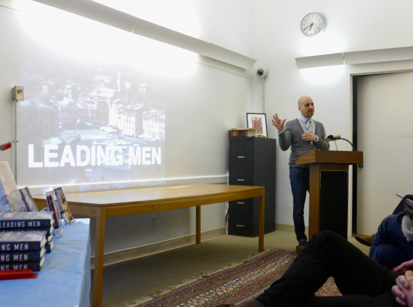 "Chris Castellani presented a slide show of ""real and imagined'"" characters in his latest novel ,   Leading Men"