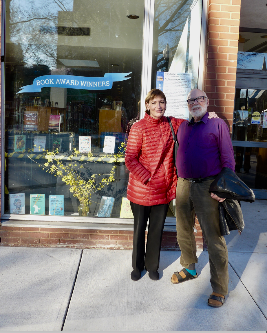 FOSEL board members Jenni Watson and Reinhold Mahler, who installed the latest Book Awards Winners window at the SE library