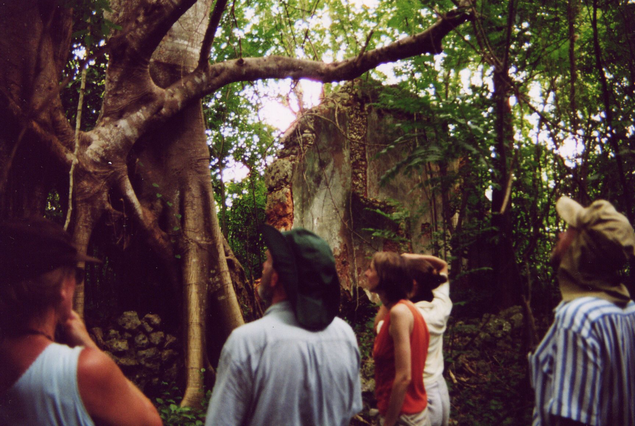 "DeWolf descendants at the ruins of ""Noah's Ark,"" one of five plantations owned by DeWolfs in Cuba."