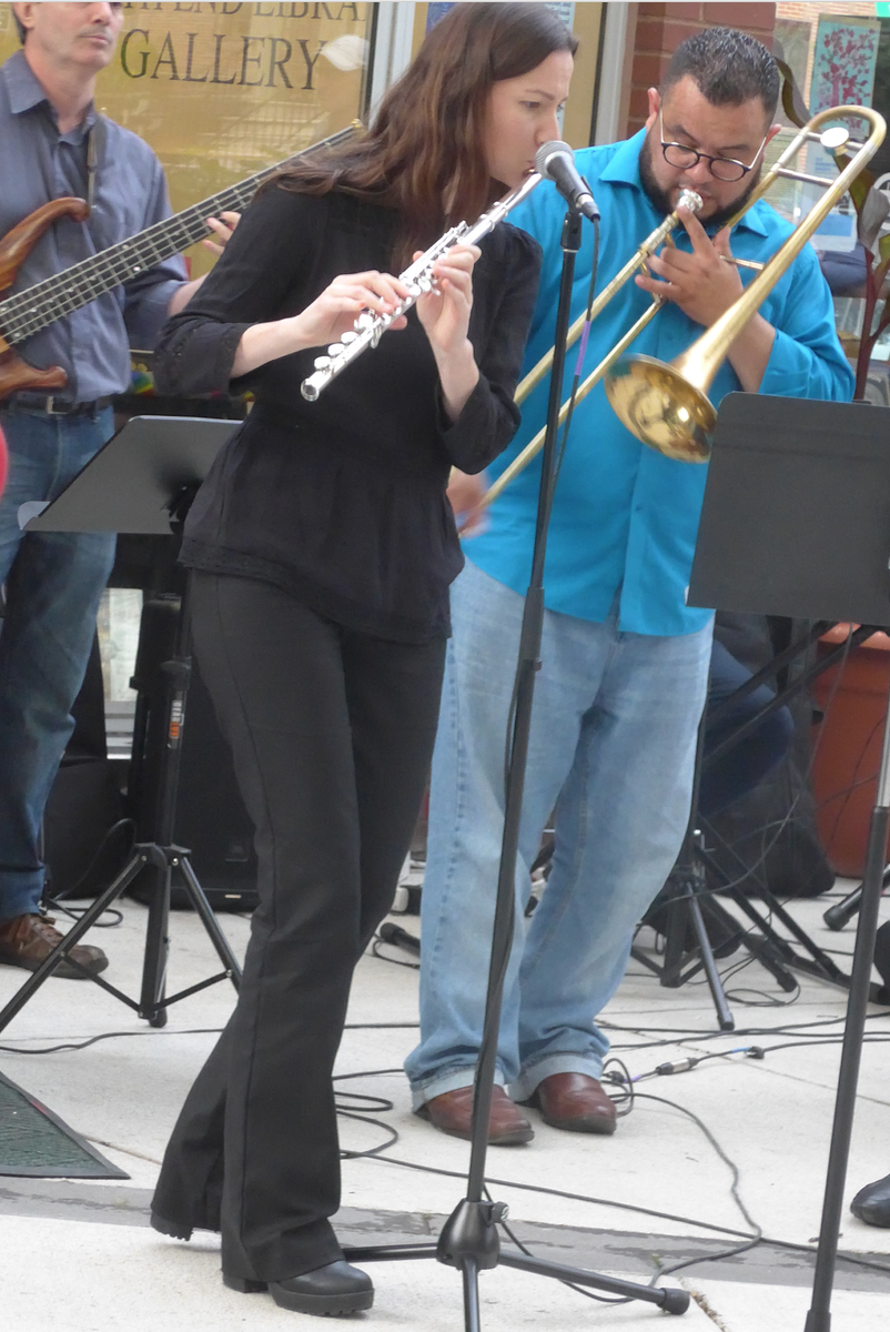 Flutist Julia and trombonist Angel Subero leaning into an inspired rendition of  A Night in Tunisia