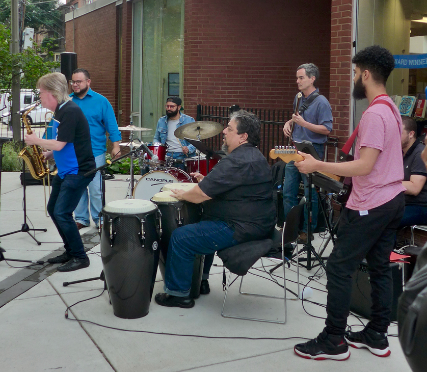 From left to right: Pat Loomis, Angel Subero, David Rivera, Fernando Huergo, Antonio Loomis and Joseph Rivera Sanchez, for the first concert this summer in Library Park.