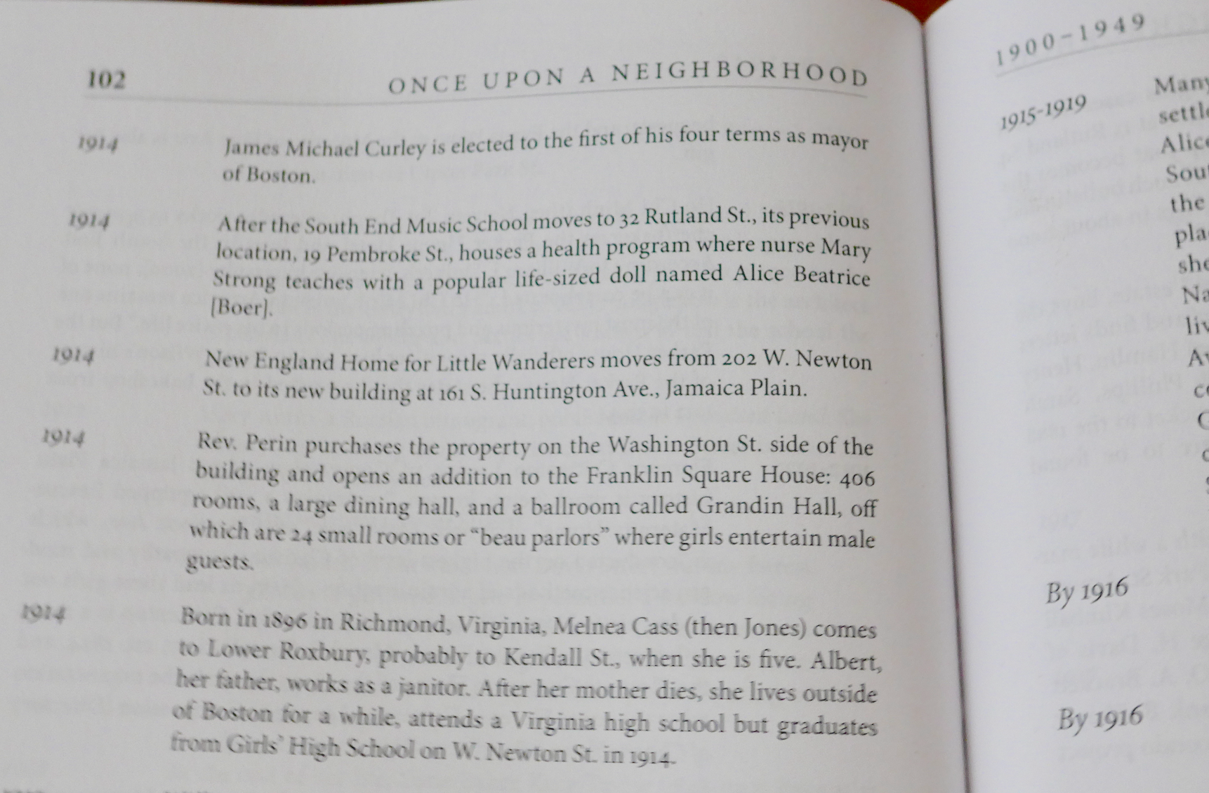 Pages from the  Once Upon A Neighborhood  timeline, which runs from the 1600s to 2015.
