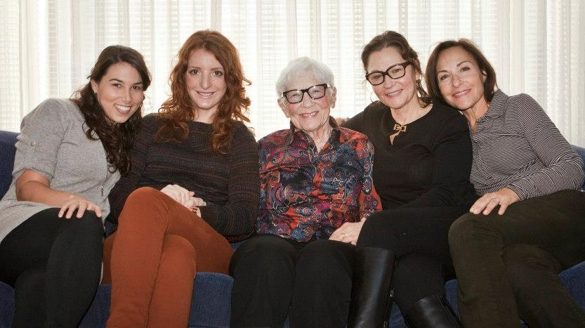 Laura (second from left) with her sister in-law Liza, her maternal Grandmother and Aunt, with Heather on the far right.