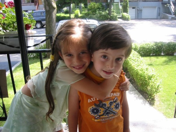 Layla, age 5, with one of her brothers, James