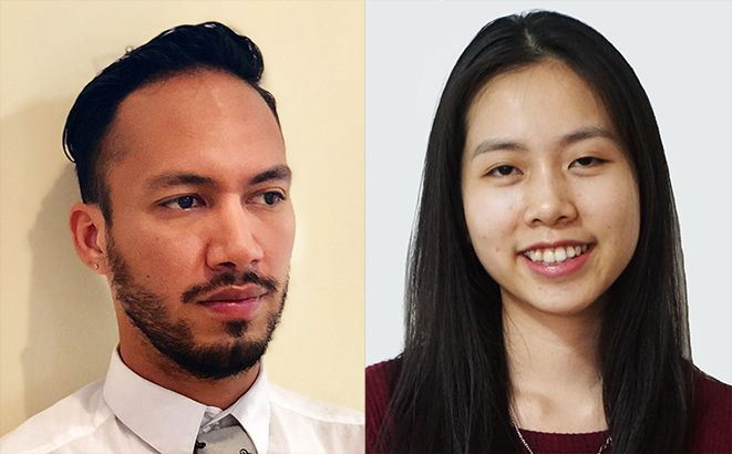 Adrean Mejia (left) interned with HHF as a Social Media and Digital Communications Intern this semester. Vicky Chan is a current Copywriting Intern.
