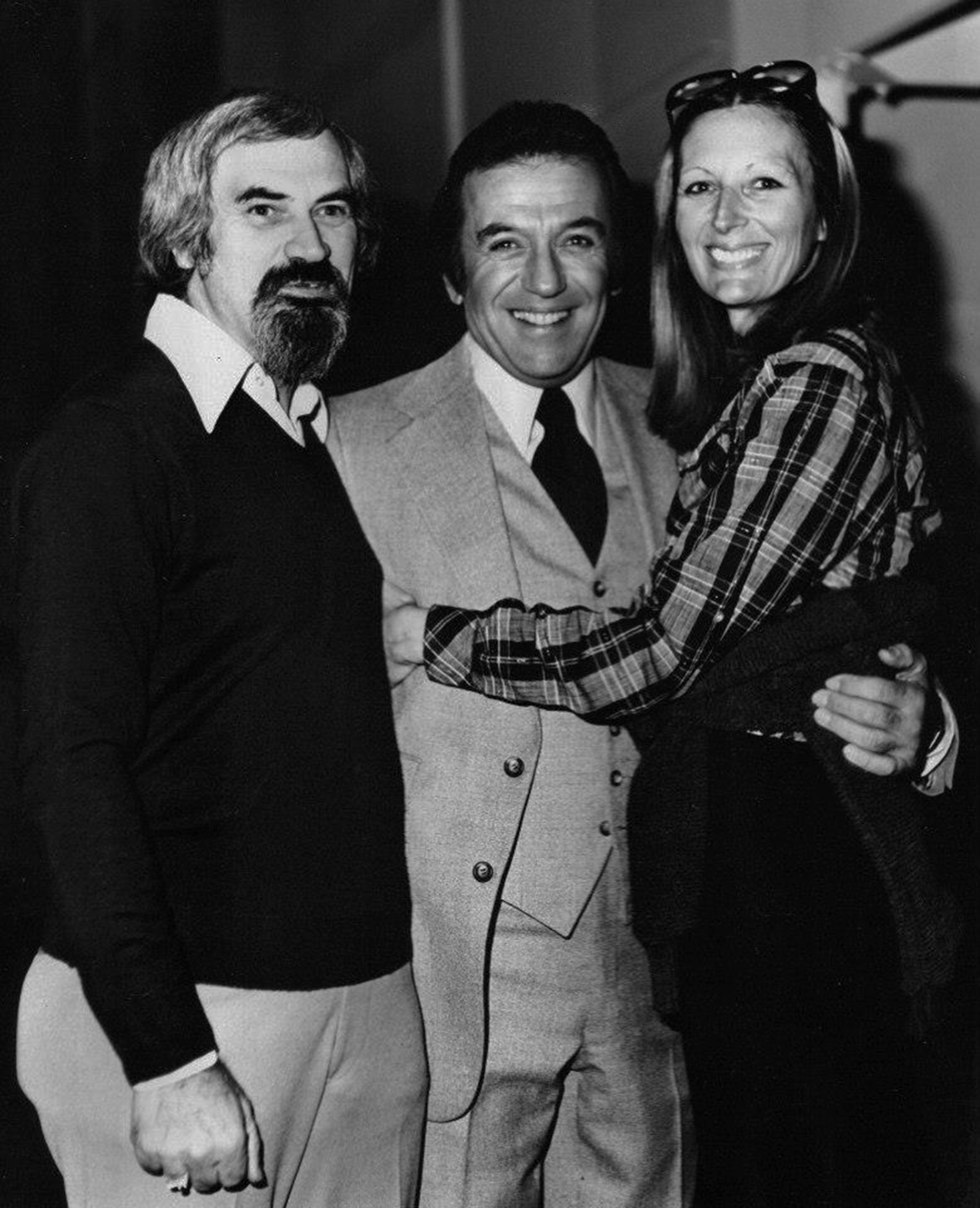"Silent Network cofounders Sheldon I. Altfeld and Kathleen Gold with comedian Norm Crosby during the production of ""Sign of Our Times"" in 1979."