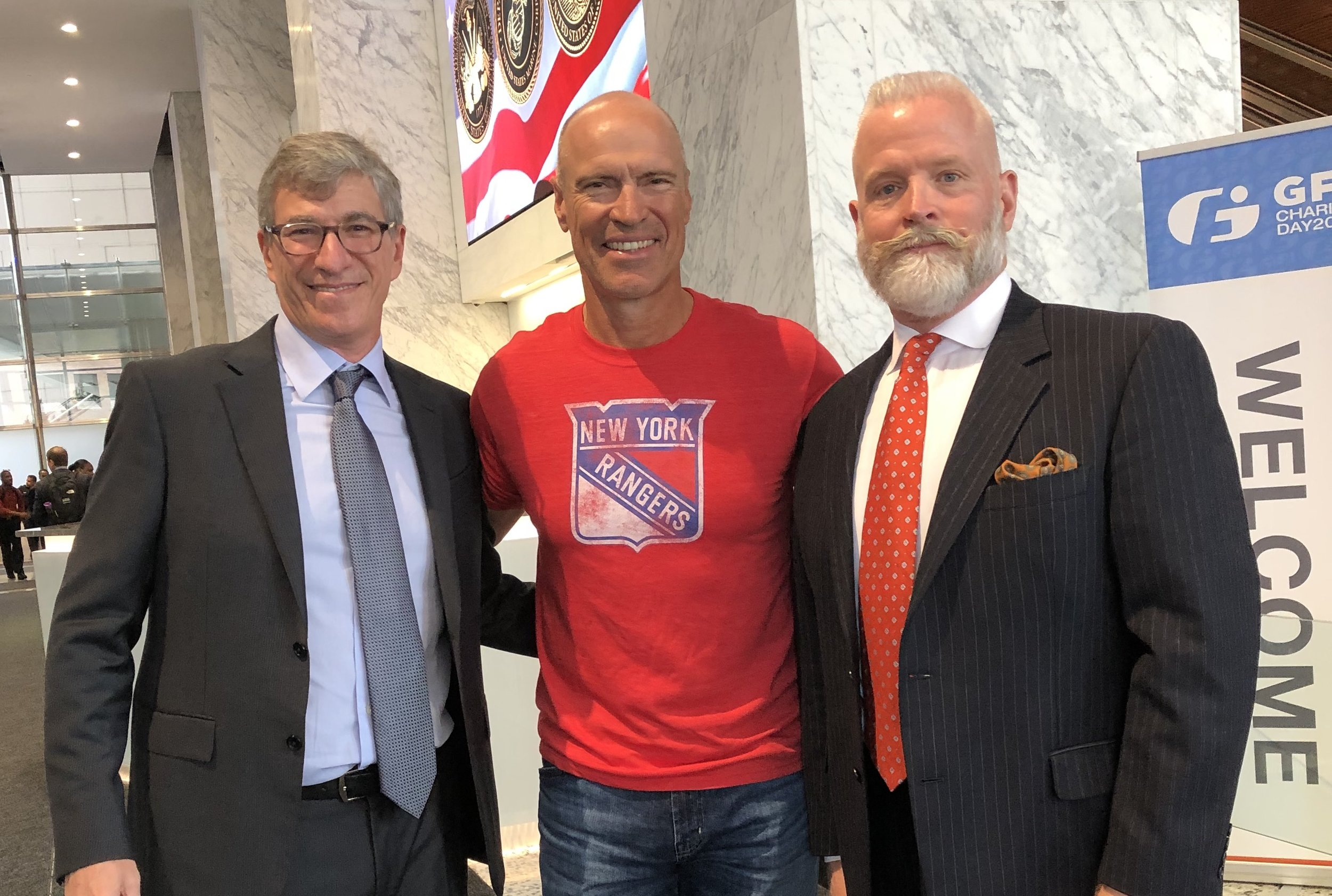 From left: HHF Board Vice Chair Paul Orlin, Retired Hockey Pro Mark Messier, CEO Timothy Higdon