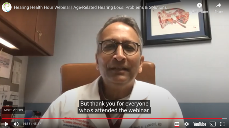 Closed captions, shown above in this    Hearing Health Hour webinar    screenshot, are an example of access for people with hearing loss who benefit from visual cues when listening to a presentation.