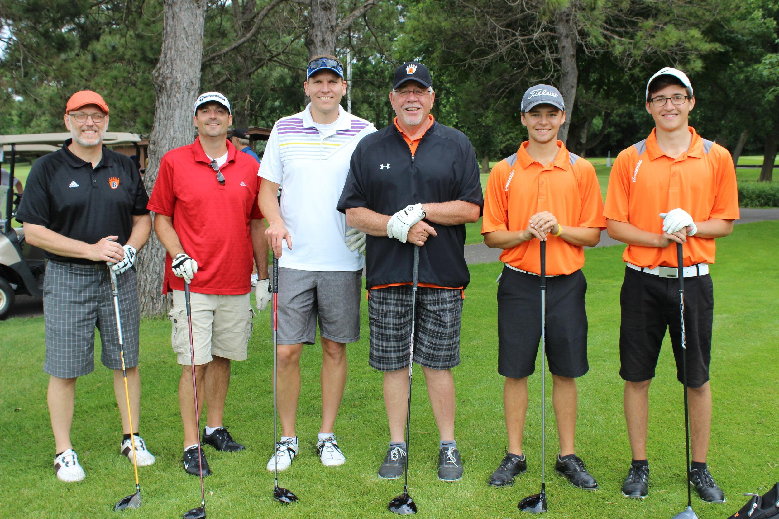 Tim Wald, Cary Krusemark, Matt Menier, Tim Hermann with WBLAS boys golfers.jpg