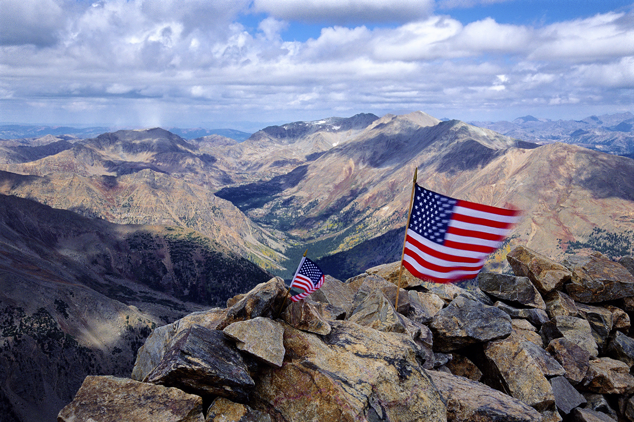American Flags on Mount Elbert