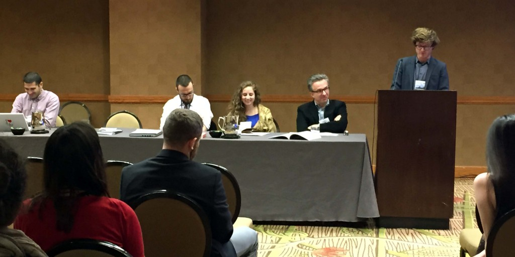 "Pelle Valentin Olsen (University of Chicago), right, presents at the ""States of Imagination"" panel. From left to right: Omar Sirri (University of Toronto), Carl Shook (University of Chicago), Annie Greene (University of Chicago), and panel moderator Peter Wien (University of Maryland and current TAARII president)"