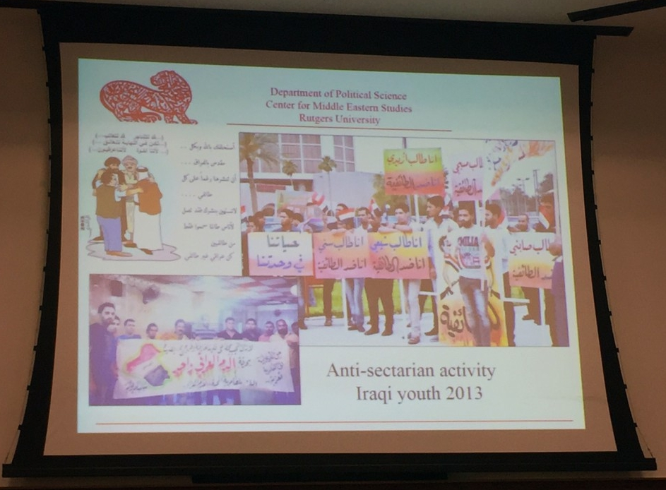 "Slide presentation by Dr. Eric Davis, ""Anti-Sectarian activity, Iraqi youth 2013″ (Photo Credit: Alda Benjamen, 2015)"