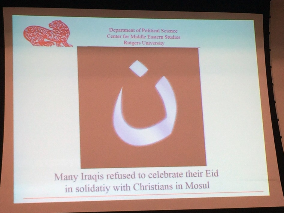 "Slide presentation by Dr. Eric Davis, ""Many Iraqis refused to celebrate their Eid in solidarity with Christians in Mosul"" (Photo Credit: Alda Benjamen, 2015)"