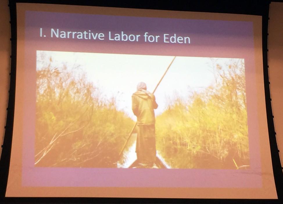 """Slide presentation by Dr. Bridget Guarasci, """"Narrative Labor on Eden"""" (Photo Credit: Alda Benjamen, 2015)"""