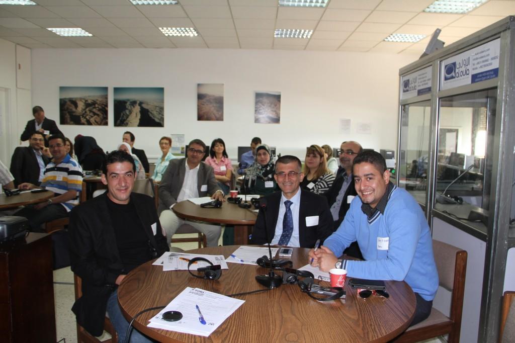 Abubakir Majeed (Hawler Medical University, Erbil), Amir Khalil (Benzirt University, Palestine), and Mehdi Souiah (D'Oran University, Algeria) at the Arab Regional Workshop, ACOR (Photo Credit: Barbara Porter, October 2014)