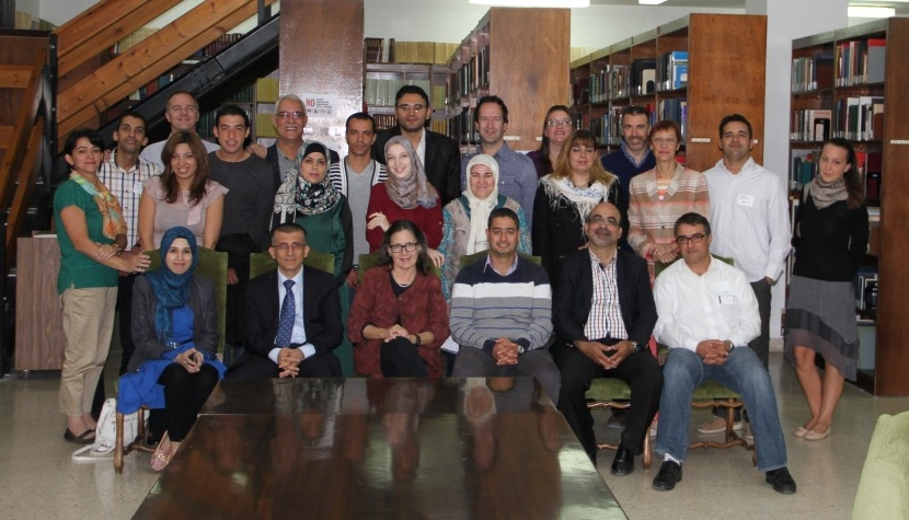 Participants in the Arab Regional Workshop with Directors Laryssa, Bobb, and Angel in the library at ACOR (Photo Credit: Barbara Porter, October 2014)