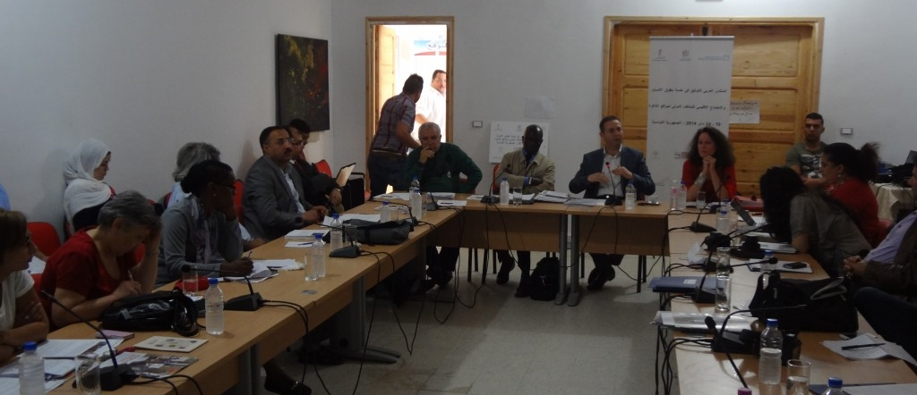 Workshop participants listen to the presentation of Doudou Diene (at center table, second from left) on oral history and human rights.