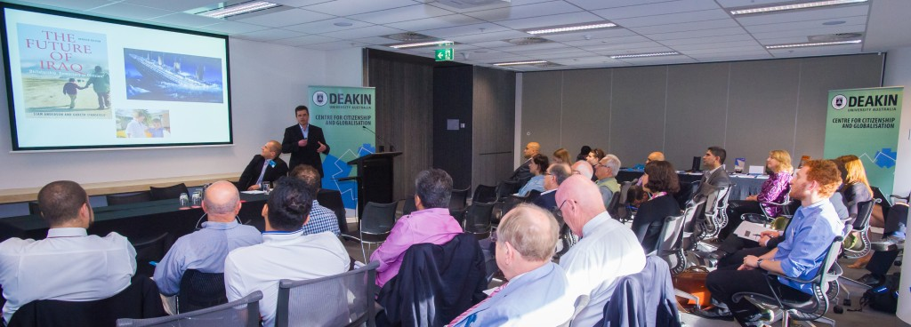 Professor Liam Anderson (Wright State University) addressing the crowd (Credit: Deakin University).