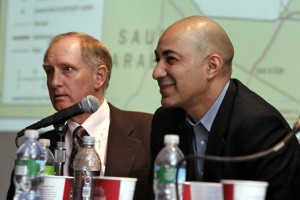 Bassam Yousif, right, and Eric Davis, left, at Hofstra's Iraq Study Day, 2009 (Photo courtesy of Hofstra University)