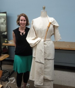 Dr. Amy Gansell poses with the finished garment (Photo credit: Amy Gansell, 2013)