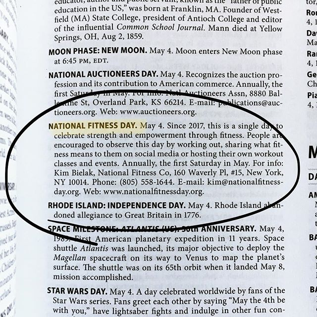 ⚠️ HUGE NEWS ⚠️ We've officially made it into the 2019 Chase's Calendar of Events! 🗓 Chase's has been the authority on national days and events since 1957 (long before the boom of social media events!) We are incredibly grateful for the opportunity to be recognized as a new addition to celebrate and spread the benefits of fitness across America, and look forward to seeing you out across the country this May! 👊🏽