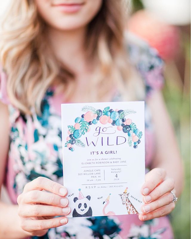HIP HIP HOORAY! 🦒The finished product! 🐘 My Etsy listing is LIVE today for this playful invite design, which can be used for a baby shower or birthday party! 🦓 You order, I customize, you print. BOOM. 💛 Thank you to @heidiannemedia for this shot! [[Creative friends and business owners: do you need photos of your work and process? Contact Heidi for a session! Seriously, she will make you feel so comfortable in front of the camera, even if that's not typically your jam, and you'll get photos you can use for your website, storefront, social media, or blog. One thing I've learned —and keep relearning— is to get people on your team who are excellent at what they do in order to allow you to focus on what you do best. In that spirit: get Heidi and her camera on your team!]]